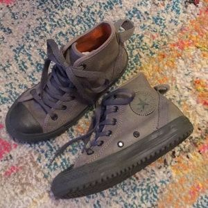 Boys Converse High Tops Gray Leather Size 13